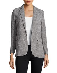 Ellen Tracy Neo Romanticism Open Front Textured Blazer Grey