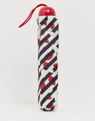 Lulu Guinness Superslim Diagonal Stripe Lip Umbrella Multi