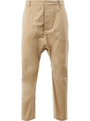 Balmain Dropped Crotch Cropped Trousers Nude Neutrals