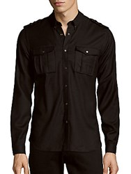 The Kooples Button Down Woolen Shirt Black