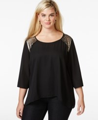 Eyeshadow Plus Size Solid Applique Detail Blouse Black Ivory