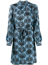 Essentiel Antwerp Snake Print Belted Waist Dress Black