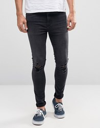 New Look Super Skinny Jeans With Ripped Knees In Black Black