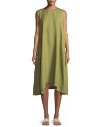Eskandar Pleated Sleeveless Linen Dress With Pockets Lime