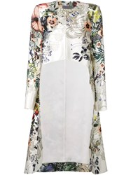 Monique Lhuillier Asymmetrical Printed Jacket Nude And Neutrals
