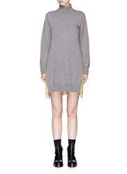Sacai Lace Underlay Colourblock Turtleneck Sweatshirt Dress Grey