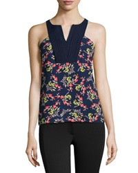 Cooper And Ella Tuxedo Sleeveless Blouse Navy Bud Print