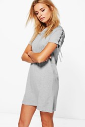 Boohoo Lace Up Shoulder T Shirt Dress Grey