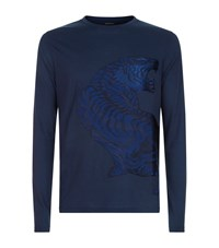 Stefano Ricci Embroidered Tiger T Shirt Navy