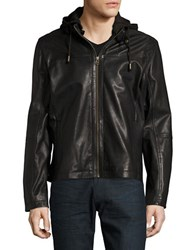 Cole Haan Hooded Faux Leather Moto Jacket Black