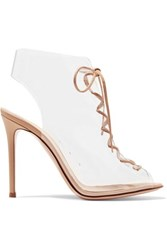 Gianvito Rossi Helmut Plexi 100 Lace Up Pvc And Leather Ankle Boots Neutral