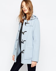 Gloverall Short Duffle Coat In Sky Blue Blue