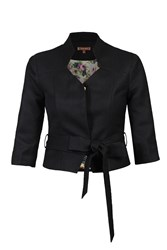 Jolie Moi 3 4 Sleeve High Collar Belted Blazer Black