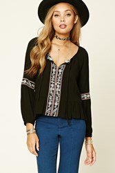 Forever 21 Floral Embroidered Peasant Top