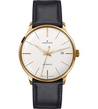 Junghans 027 7312.00 Meister Classic Leather And Gold Plated Watch Silver