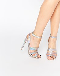 Paper Dolls Holly Silver Stripe Triple Strap Heeled Sandals Silver