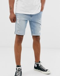 Hollister Skinny Fit Destroyed Denim Shorts In Light Wash Blue