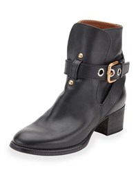 Chloe Buckle Strap Leather Boot Black