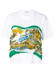 Junya Watanabe Gathered Printed Panel T Shirt White