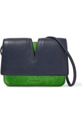 Jil Sander Micro Cutout Leather And Suede Shoulder Bag Green