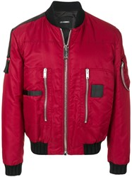 Les Hommes Puffy Pilot Bomber Jacket Acrylic Polyamide Polyester Wool Red