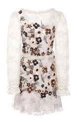Rodarte Hand Beaded Daisy Lace And Chiffon Dress Floral