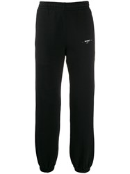 Off White Gathered Ankles Track Pants Black