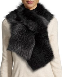 Il Borgo Fox Fur Pull Through Scarf Charcoal