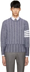 Thom Browne Navy Wool Oxford Sweater