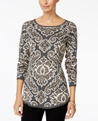 Charter Club Petite Paisley Sweater Only At Macy's Charcoal Heather Combo