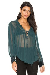 Free People Dream Cuff Blouse Green