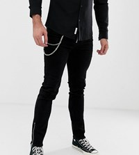 Heart And Dagger Super Skinny Jeans With Zips In Black