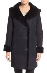 Hide Society Women's Hidesociety Hooded A Line Genuine Shearling Coat