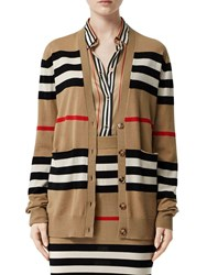 Burberry Heritage Intarsia Wool Knit Cardigan Archive Beige