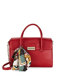 Love Moschino Fold Over Flap Satchel Dark Red