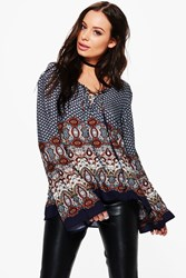 Boohoo Helen Border Print Lace Up Front Blouse Navy