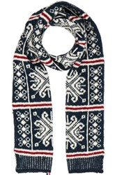 Thom Browne Norwegian Fair Isle Scarf In Blue Abstract Stripes Blue Abstract Stripes