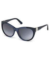 Swarovski Studded Oval Sunglasses Blue