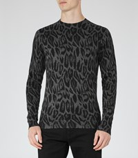 Reiss Leo Mens Animal Print Jumper In Grey