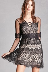 Forever 21 Contrast Lace Overlay Dress Black Nude