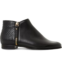 Dune Pander Textured Leather Ankle Boots Black Leather