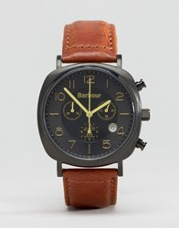 Barbour Beacon Chronograph Leather Watch In Tan Tan