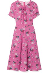 Altuzarra Tuesday Floral Print Silk Crepe De Chine Dress Pink