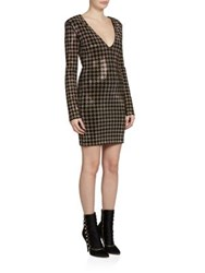 Balmain Beaded Long Sleeve Dress Black Gold