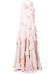 Maison Rabih Kayrouz Ruffle Trimmed Gown Pink And Purple