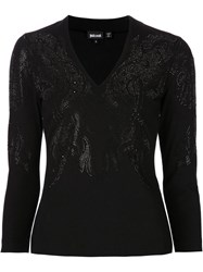 Just Cavalli Embellished V Neck T Shirt Black
