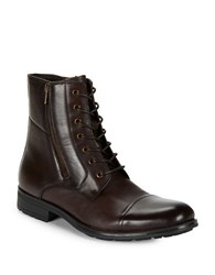 Kenneth Cole Reaction Single Mindlace Up Cap Toe Mid Boots Brown