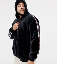 Soul Star Plus Zip Through Teddy Hoodie With Taping Navy