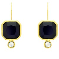 Monet Glass Crystal Drop Earrings Gold Indigo