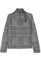 Paper London Pussy Bow Prince Of Wales Checked Knitted Top Gray